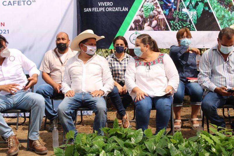 ENTREGA DE PLANTAS DE CAFE POR LA PRESIDENTA ERIKA SAAB LARA